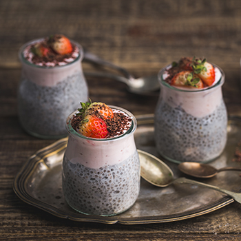 Coconut pudding with strawberry mousse